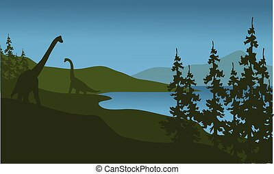 Silhouette of brachiosaurus in lake