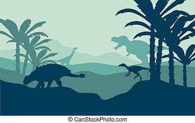 Silhouette of eoraptor and ankylosaurus with blue...
