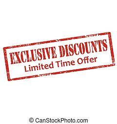 Exclusive Discounts-stamp - Grunge rubber stamp with text...