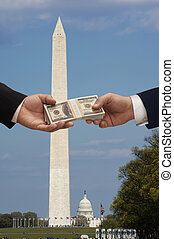 Money and Politics - Hanshake in Washington DC with the...