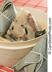 Zongzi Sticky Rice - Steamed Chinese rice dumplings zongzi...