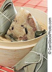 Zongzi Sticky Rice - Steamed Chinese rice dumplings zongzi...