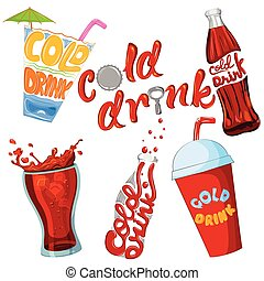 Set of cold drink and beverage icon