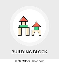 Building block icon - Building block icon vector Flat icon...