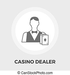 Casino Dealer Flat Icon - Casino Dealer Icon Vector Casino...