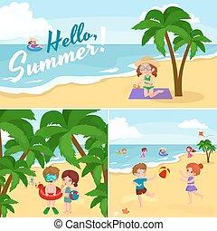 Children summer vacation Kids Playing sand around water on...