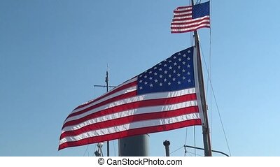 American Flag Blowing in Wind