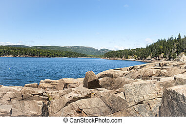 Bay in Acadia National Park - Quiet bay in late summer in...