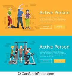 Active fitness person man and woman workout in gym