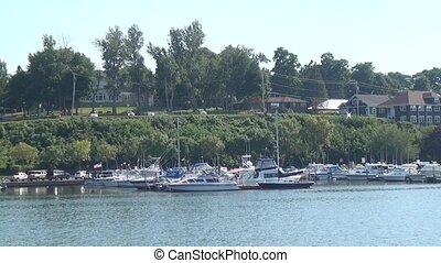 Boats in Harbor Near Shore