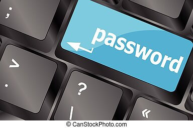 concept of accessibility with password button on the laptop,...