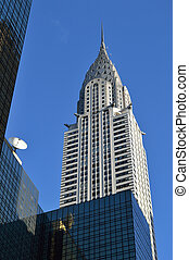 Chrysler Building - Chrysler Building against a clear blue...