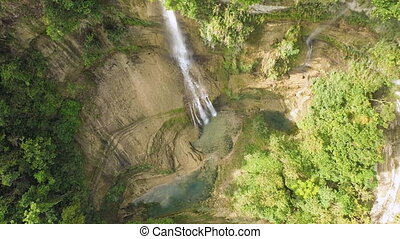 Waterfall from ravine. Philippines Aerial view.