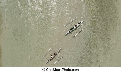 Fishing boat Aerial view Philippines Anda city - Fishing...