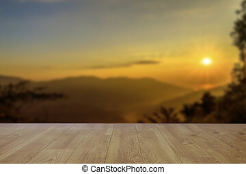 wood floor with beautiful sunset background.
