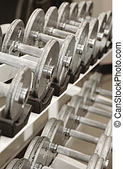 Free Weights - Rack of free weights in a health spa/gym