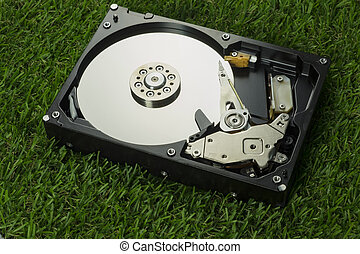Hard disk on grass