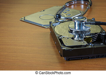 stethoscope on the hard disk drive