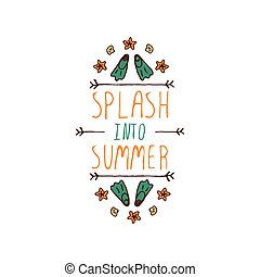 Hand-sketched typographic element with flippers and starfish