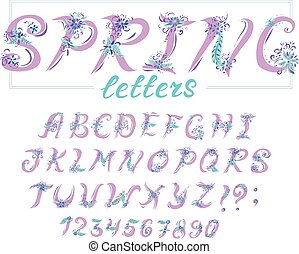 Alphabet in spring style with flowers. Vector colorful letters. Hand drawn font