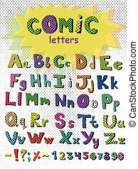 Alphabet in comic style. Vector colorful letters. Hand drawn font