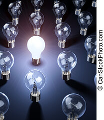 Ideas and Inspiration - A series of lightbulbs with focus on...