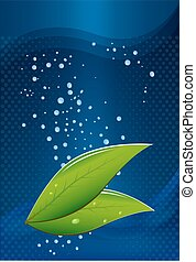 tea leaves on a blue background with water drops