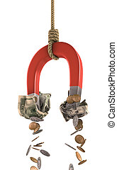 Making money - A horseshoe magnet tied to a rope collecting...