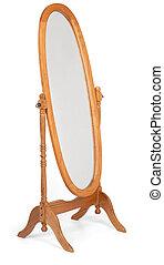 Floor Mirror - Classic wooden full-length floor mirror shot...