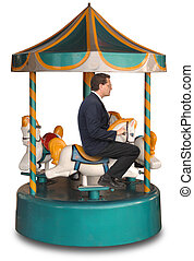 Corporate Merry-Go-Round - Businessman sitting on a small...