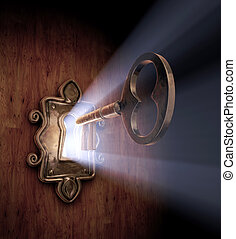 Unlocking Dreams - A close-up of a key moving towards the...