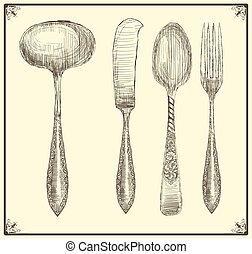 Cutlery set. Doodle style