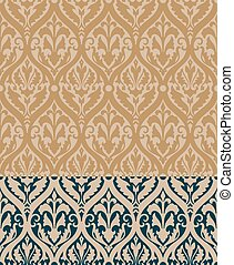 Baroque Pattern with Floral Details in two colors