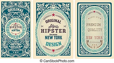 Old cards set with floral details Elements organized by...