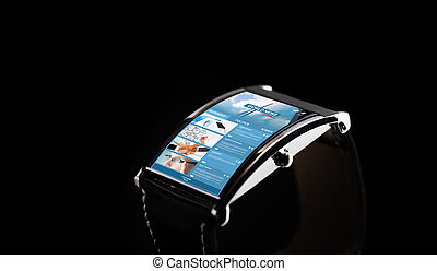 close up of smart watch with news web page - modern...