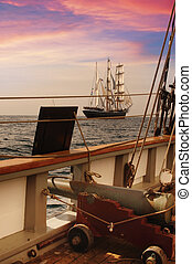 Pirate Ship Deck - Deck of a vintage ship at dusk with a...