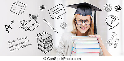 happy student woman in mortarboard with books - education,...
