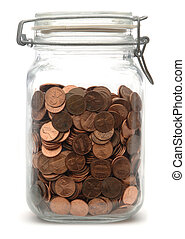 Jar of Pennies - Glass jar of pennies on a white background
