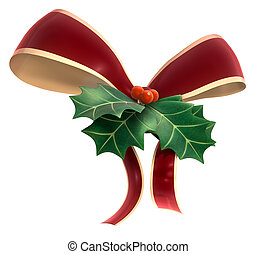 Holly Decor - A Piece of Holly leaf and berry tied in a...