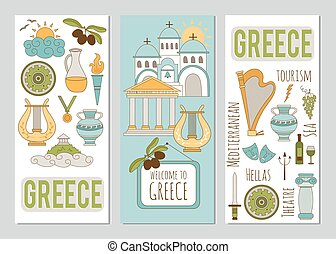 Greece set of banners