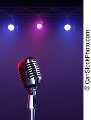 On Stage - 50s mic over stage light background