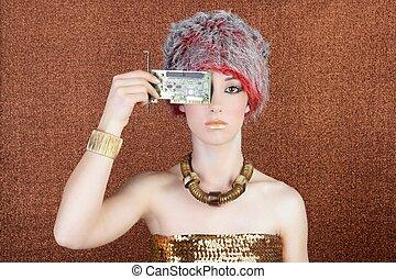 futuristic golden bronze woman technology chipset -...