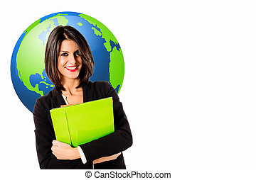 global communications - Young business woman over global...