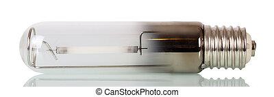 Energy-efficient sodium lamp closeup isolated on white.