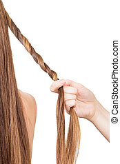 Hairdresser braids for long hair tourniquet isolated on...