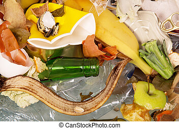 Pile of household and food waste - A pile of household and...