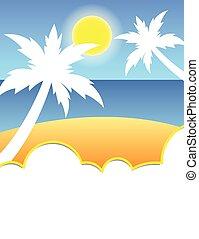 Summer tropical beach flyer design