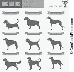 Dog breeds Hunting dog set icon Flat style Vector...