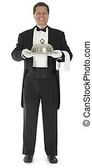 Waiter Standing on White - Waiter standing full front view...