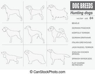 Dog breeds. Hunting dog set icon. Flat style. Vector...
